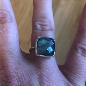 Anthropology ring - silver and grayish blue stone